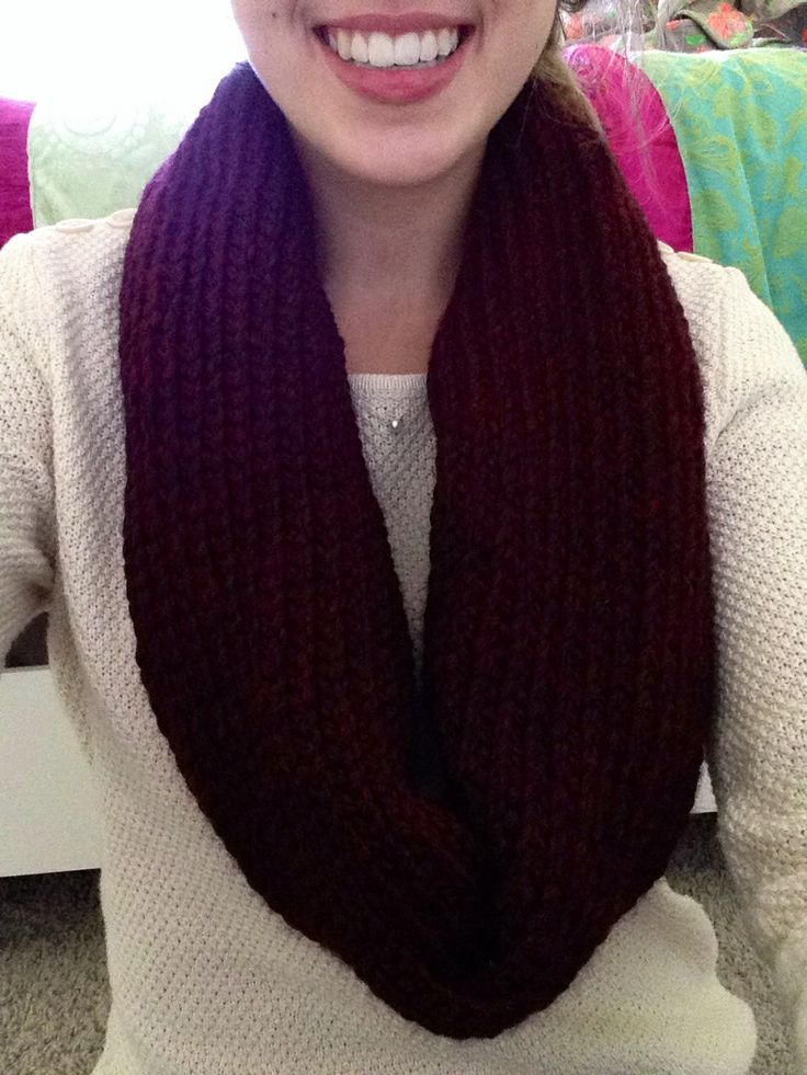 Circle Loom Knitted Bordeaux Infinity Scarf Diy Crafts