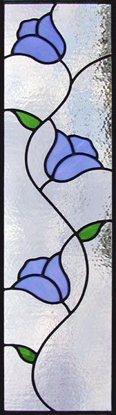ZOOM to 3 blue tulips stained, leaded glass window custom glass design