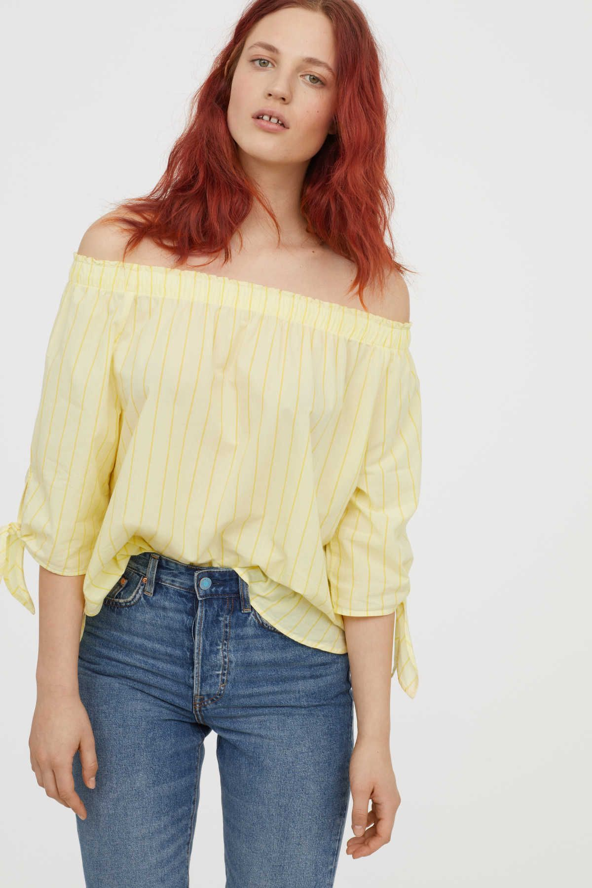 7ce94653987204 Light yellow striped. Off-the-shoulder top in woven cotton fabric.  Elastication and ruffle trim at top