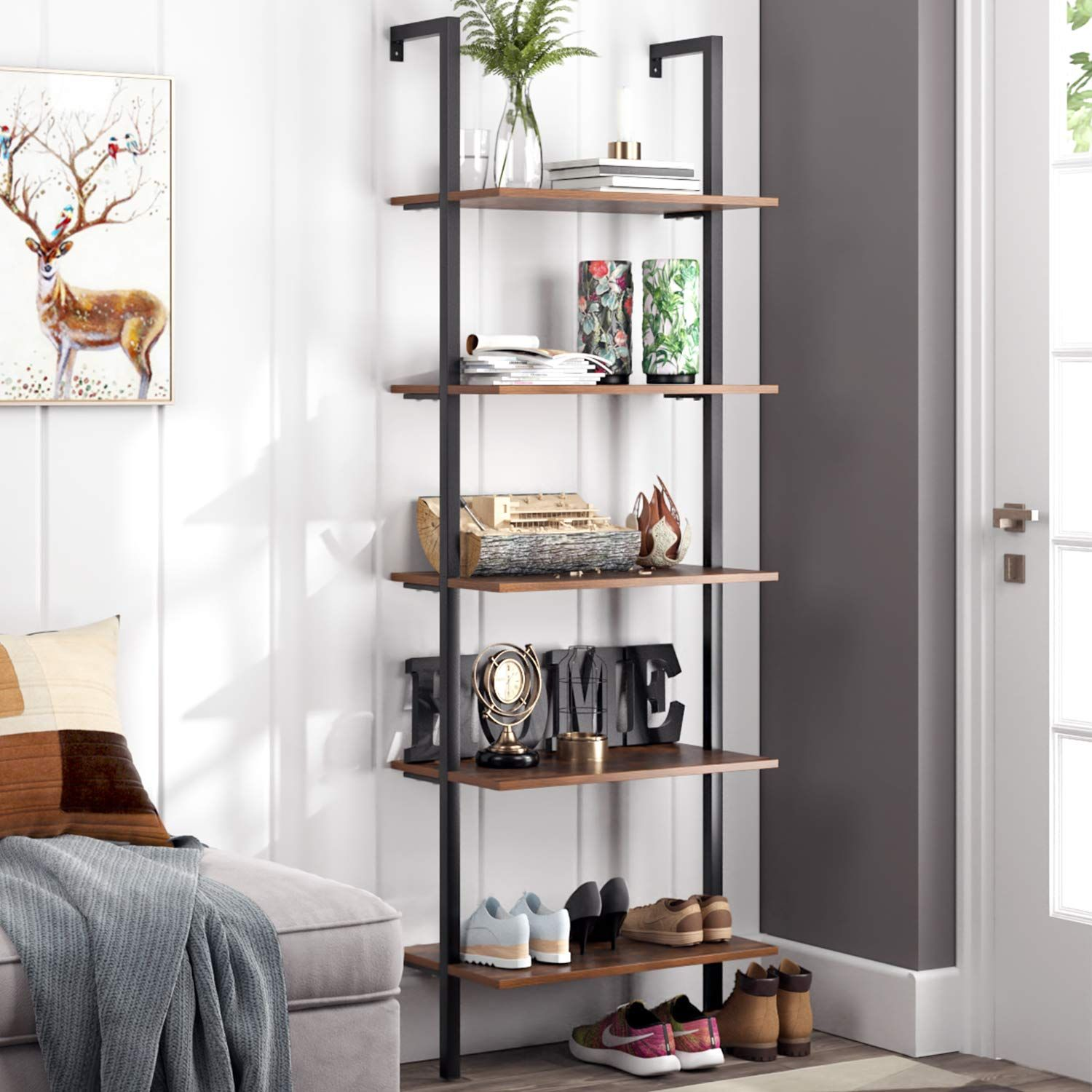 Homfa 5 Tier Industrial Ladder Shelf Against The Wall To View