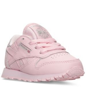 91db1e390fb Reebok Toddler Girls  Classic Leather Casual Sneakers from Finish Line -  LUSTER PINK SILVER MET 10