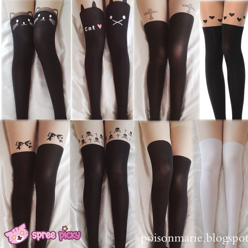 8 Patterns Fake Over Knee Thigh High Tights Thigh High Tights Cute Tights Thigh Highs