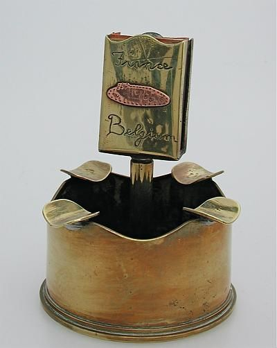trench art ashtray match holder