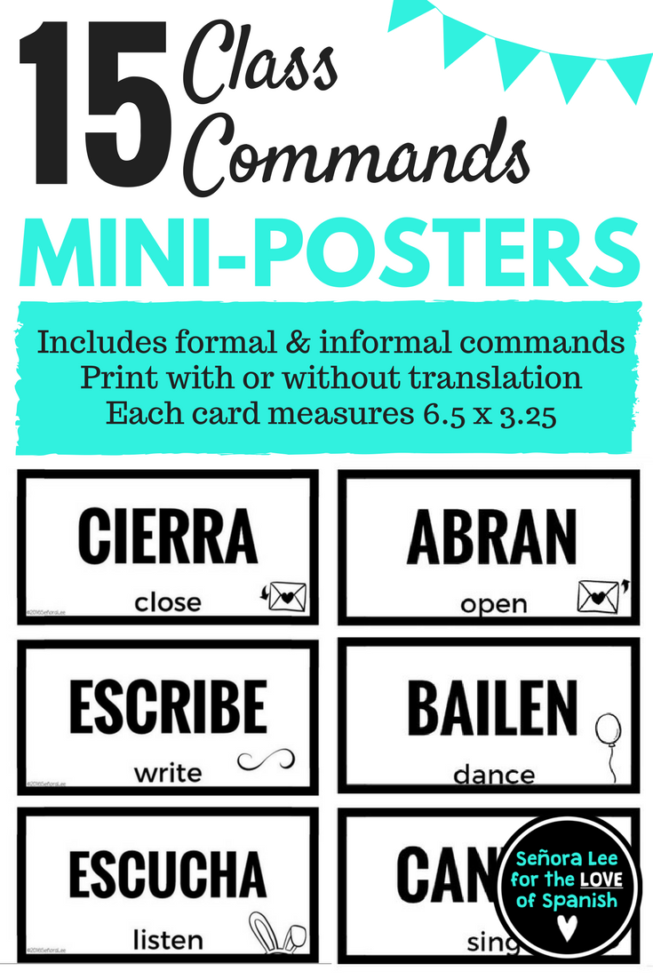 Spanish Commands Posters or Flashcards   Spanish and Bulletin board