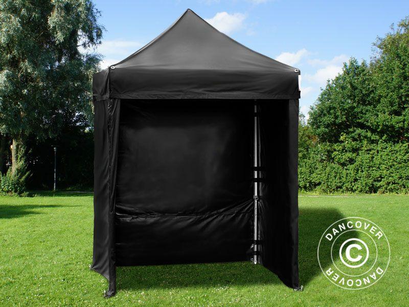 Pop Up Gazebo Flextents Pro 2x2 M Black Incl 4 Sidewalls Med