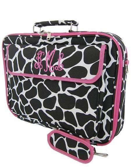 Personalized Laptop Case Giraffe Print Pink Trim Custom Monogrammed Computer Bag. $41.99, via Etsy.