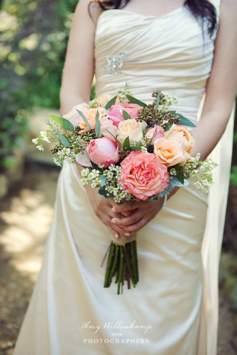 classic bouquet of blush garden roses wax flower and seeded eucalyptus