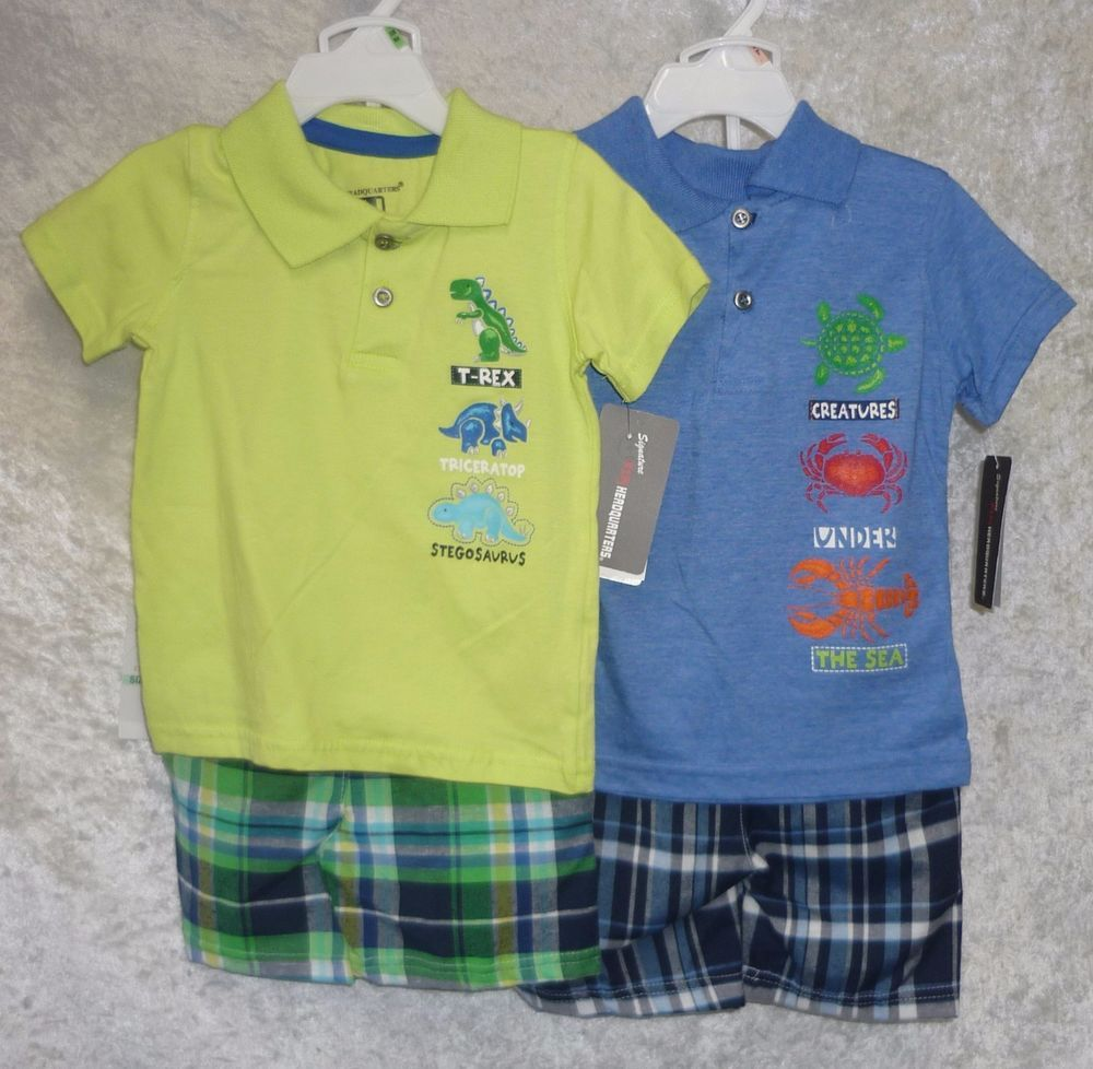 Kids Headquarters Baby Boys Yellow Polo Top With Plaided Shorts