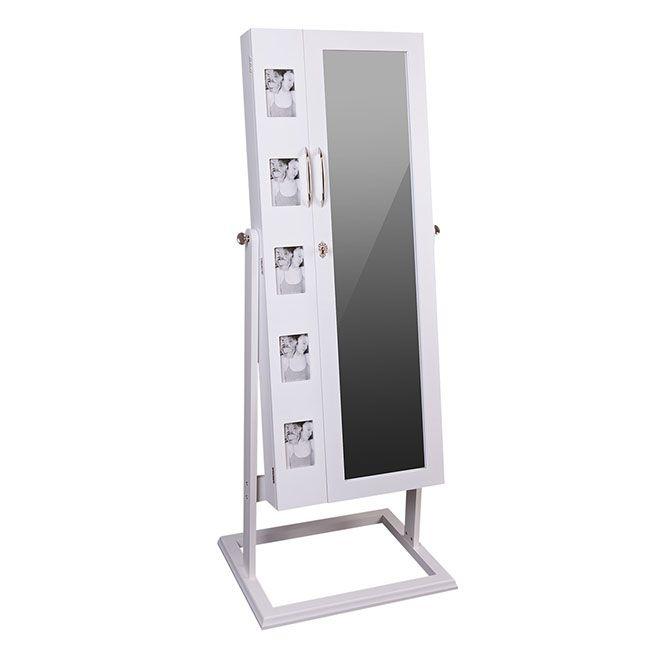 ZNL Schmuckschrank Spiegelschrank Standspiegel Spiegel weiß 150cm ...