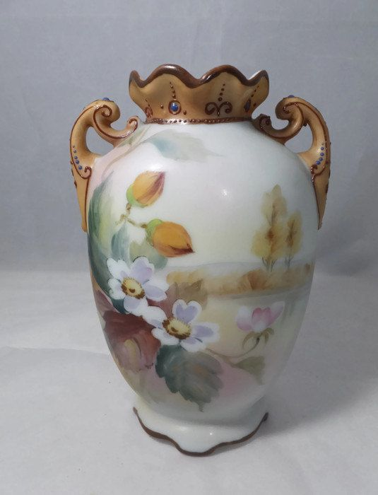 Antique Nippon Vase Hand Painted Floral Scene Made In Japan