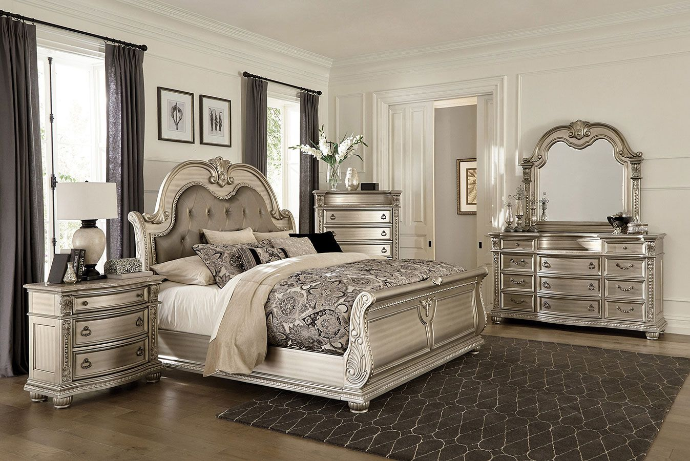 Cavalier Sleigh Bedroom Set (Silver)   Sleigh bedroom set, Bedroom set, Bedroom sets queen