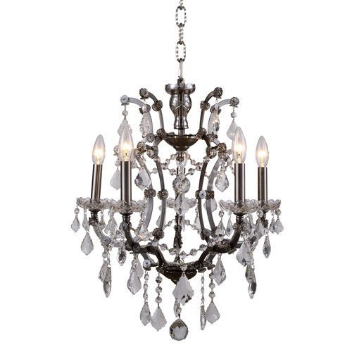 Elena Raw Steel Five-Light Mini Chandelier with Clear Crystals