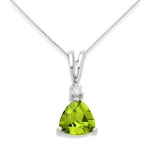 0.02 Carat SI Diamond with Peridot Pendant Necklace in 9ct White Gold  45 cm