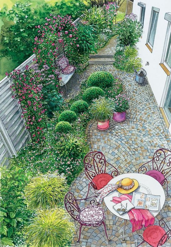 Gartenhof In Neuem Look Garten Schmaler Garten Garten Landschaftsbau