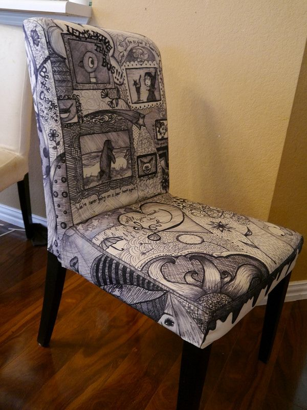 A Chair Decorated With Sharpie. I Protected It With VERY LIGHT Coats Of  Scotchgard. For The Other Chairs Iu0027ll Be Using Sharpie Fabric Markers.