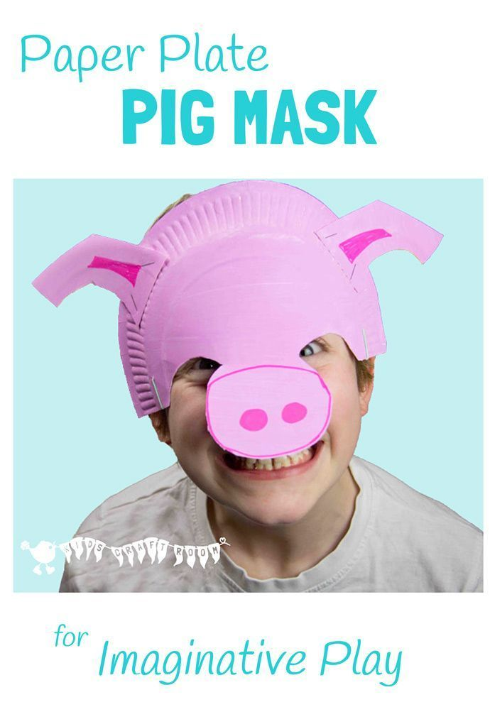 PAPER PLATE PIG MASK Fantastic for imaginative play. It sits on the forehead so it's great for kids that don't like full face masks and for glasses wearers too. #masks #diymasks #homemademasks #paperplates #paperplatecrafts #paperplatemasks #pigs #pigmasks #pigcostume #pigcrafts #farm #farmcrafts #animal #animalcrafts #kidscrafts #craftsforkids