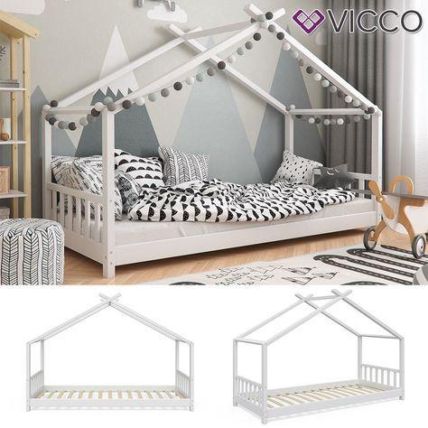 vicco vicco kinderbett hausbett design 90x200cm kinder bett holz haus hausbett sparen online. Black Bedroom Furniture Sets. Home Design Ideas