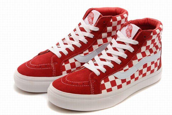 9fb4796b5f Vans SK8-Hi Classic Checkerboard Red White Womens Shoes  Vans ...