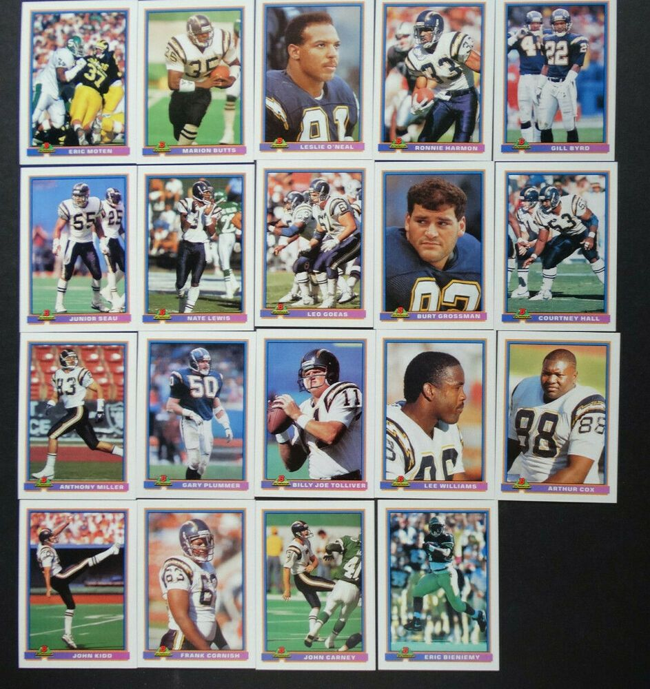 1991 bowman san diego chargers team set of 19 football