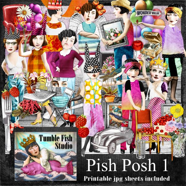 Tumble Fish Studio's Pish Posh digital image kit at MischiefCircus.com . . . includes 10 printable jpg collage sheets AND over 140 individual png images for digital or cut and paste collage, journaling, scrap, and mixed media work.