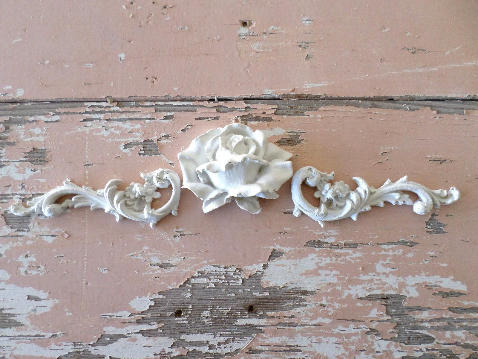 Shabby Chic French Provincial 3 x Shell Furniture Appliques Resin Wood Moldings