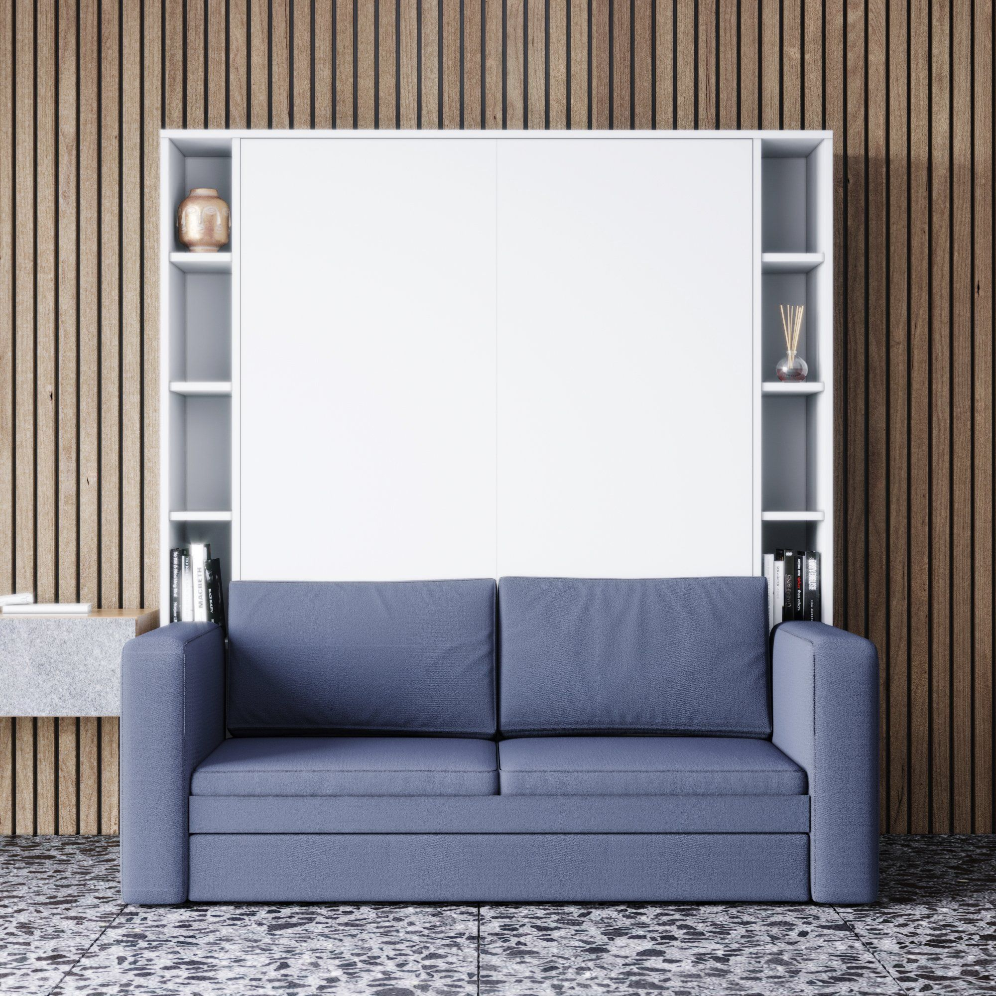 Luxoria White with Shelves and Sofa in 2020 Murphy bed