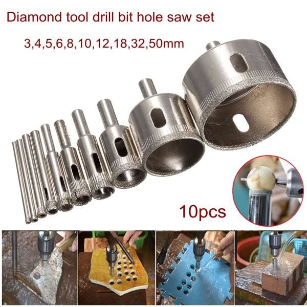 $9.96 10pcs 3-50mm Diamond Drill Bit Hole Saw Set for Glass Ceramic Marble Tile