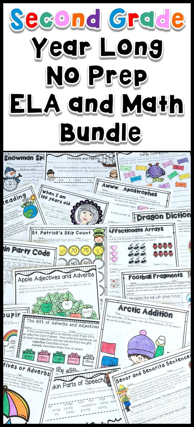 If You Are Looking For A One Stop Shop For No Prep Printables This Mega Bundle Is Perfect Geared Towards Second Gr Second Grade Super Teacher Worksheets Math [ 1619 x 736 Pixel ]