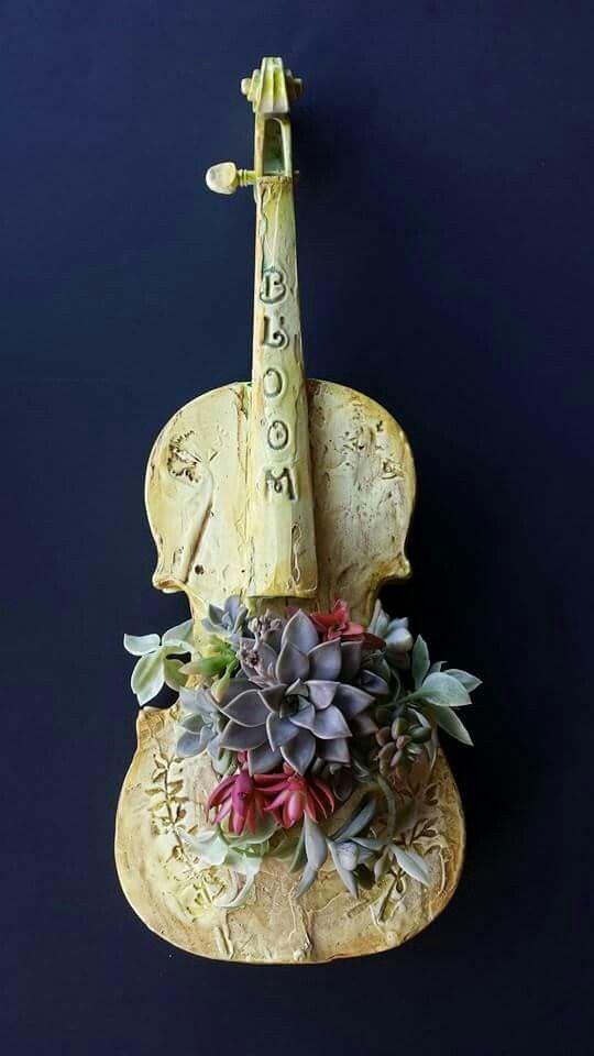 DIYthinker Orange Cactus Potted Plant Succulents Necklace Antique Guitar Jewelry Music Pendant