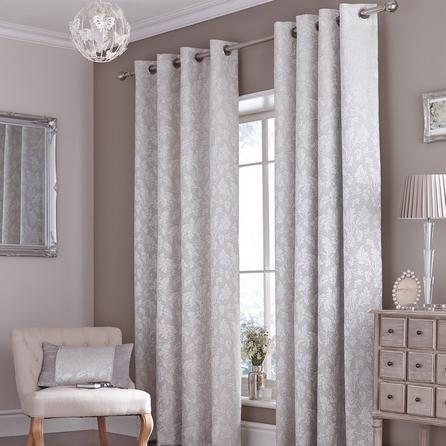 Dunelm Canterbury Grey Polyester Eyelet Curtains (W 228cm ...