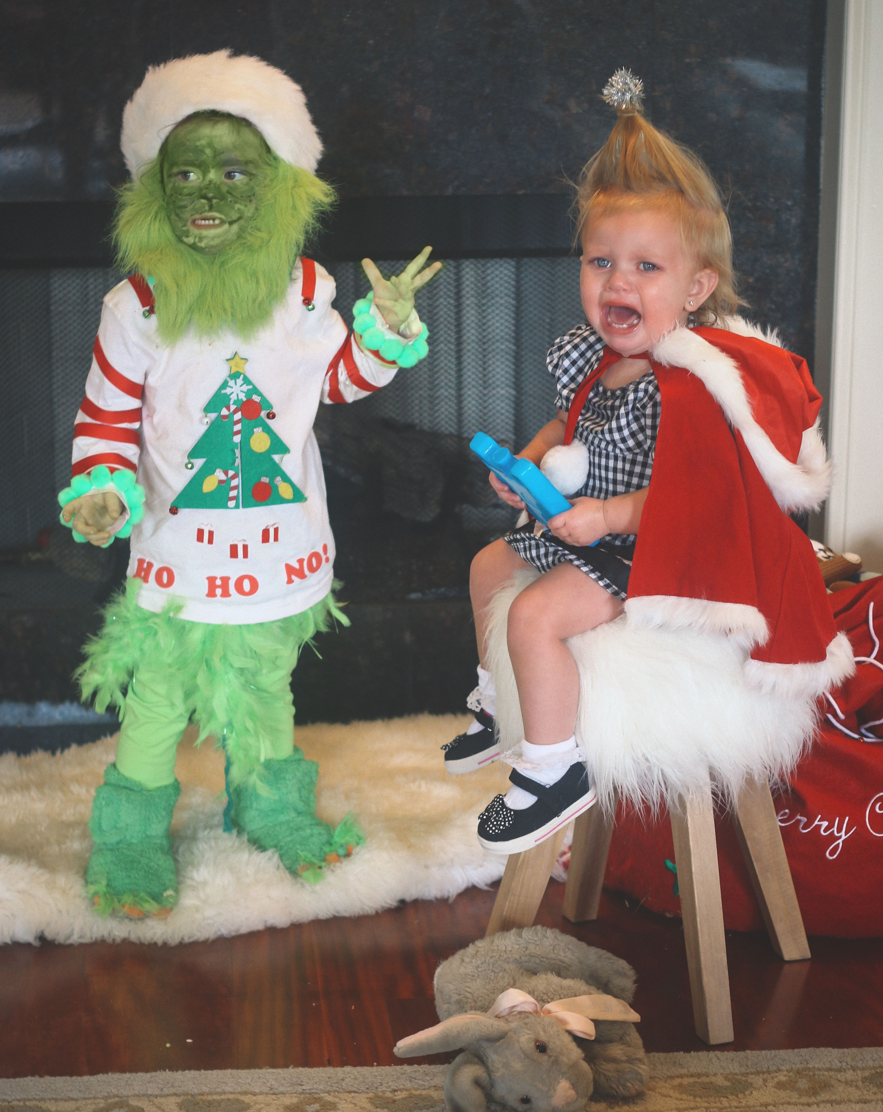 Toddler Grinch and Cindy Lou Who costume, sibling costumes