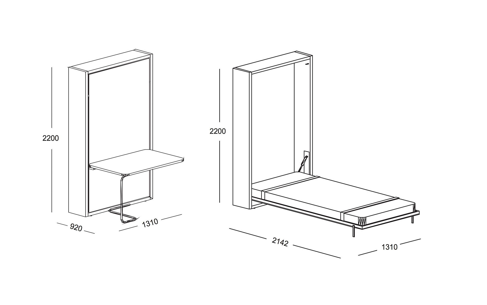 Schrankbett Telemaco 120 Mit Tisch Möbel Betten Zubehör Schrankbetten Clei Ist Der Absolute Spezialist Für Multifunktionale Lebensräume