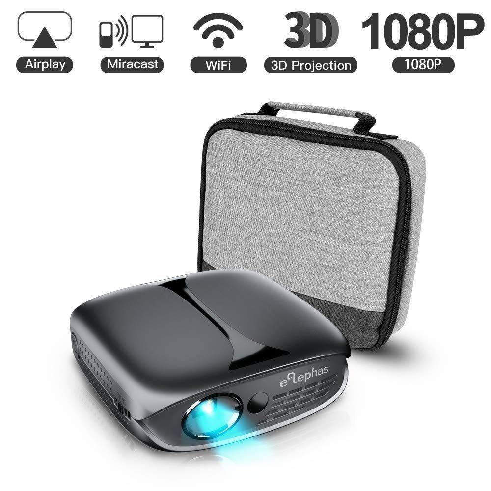 ELEPHAS Mini Portable Projector WiFi DLP HD Pico 3D Video Pocket