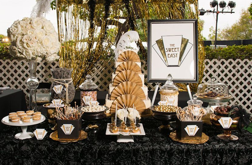 Pretty dessert table decor with gold and black accents Charity
