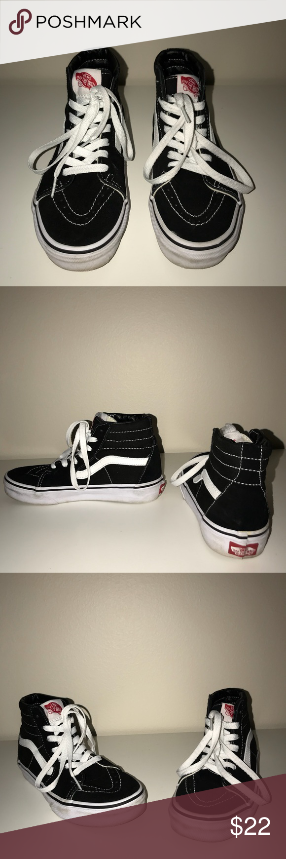 a5b84abdbe Vans Sk8-Hi Vans black and white sk8-hi s. Kids mens 3 1 2 and womens 5.  Worn out twice