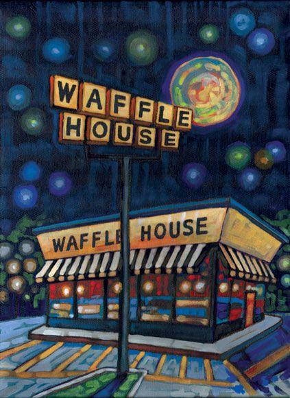 Waffle House Painting By Anastasia Mak Waffle House Home Art House Painting