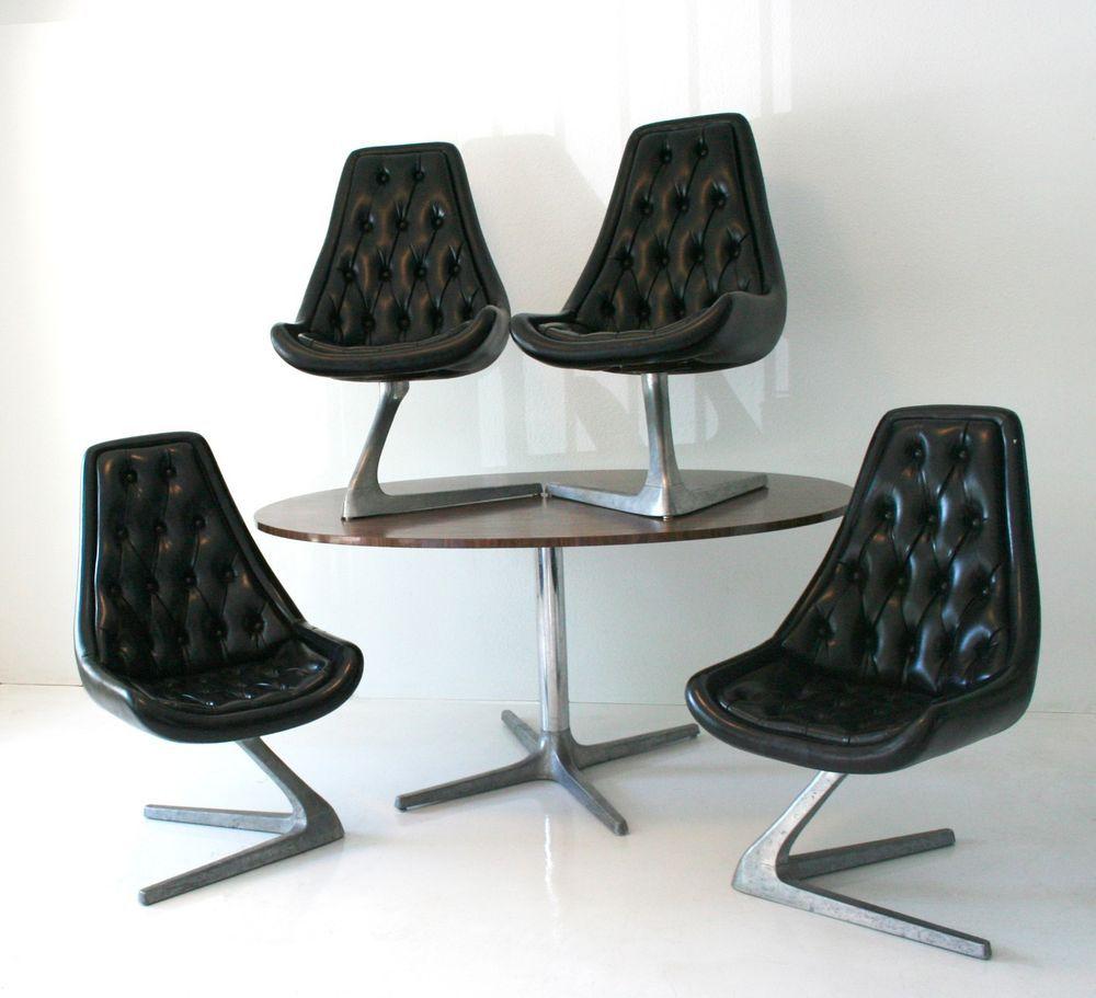 Vintage Modern Chromcraft Sculpta Dining Table and 4 Unicorn Chairs ...