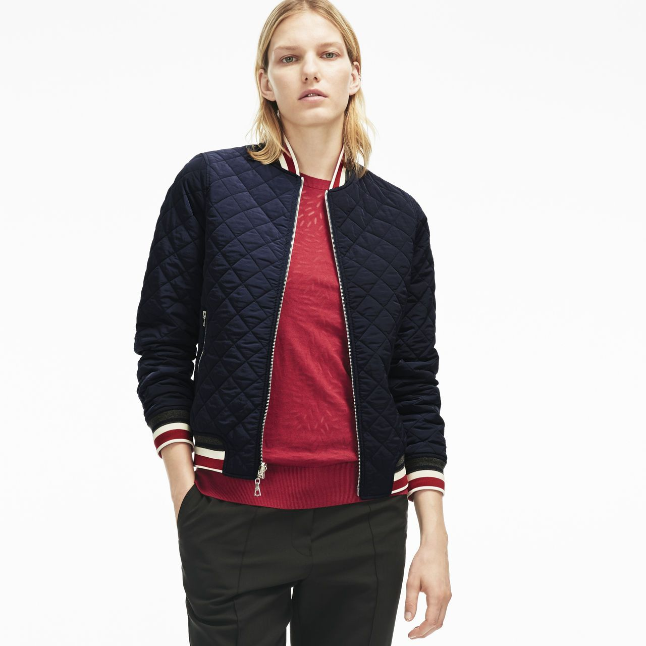 Women S Reversible Quilted Taffeta Bomber Jacket Lacoste Bomber Jacket Lacoste Women Striped Jacket [ 1280 x 1280 Pixel ]