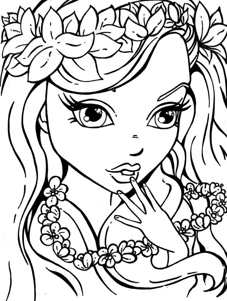 Lisa Frank Hawaiian Girl Mermaid Coloring Pages Cute Coloring