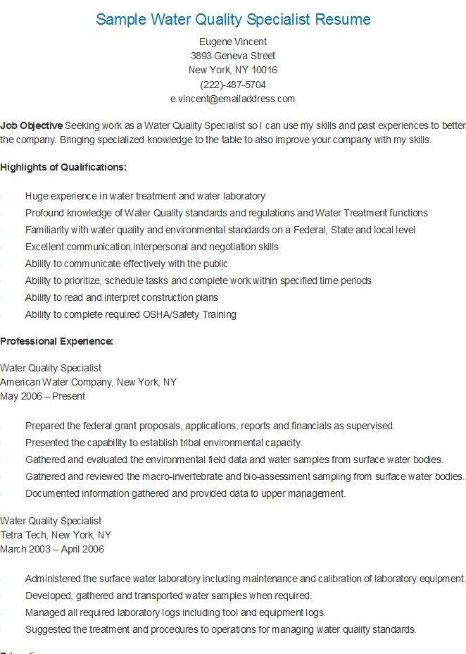Sample Water Quality Specialist Resume Resume Sample Resume
