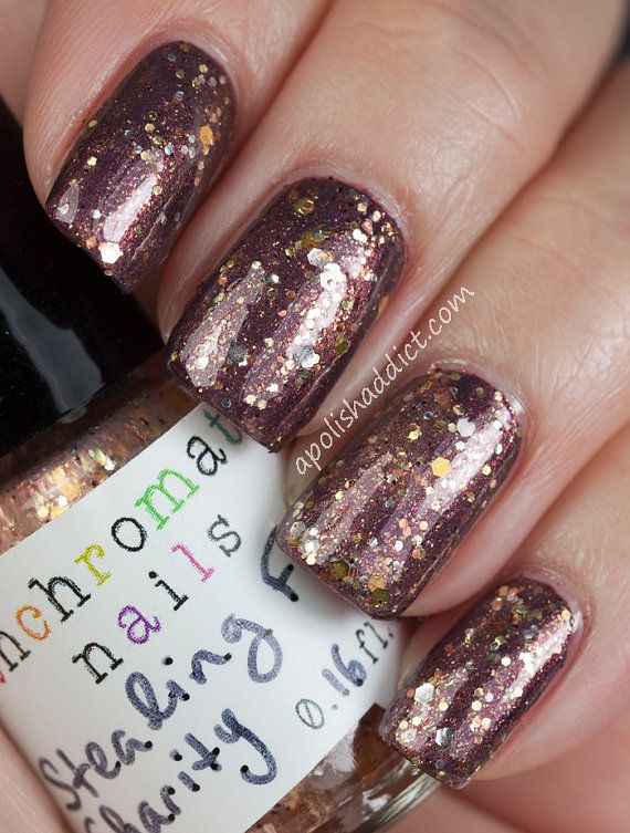 Stealing From Charity Nail Polish Color Shifting Glitter Topcoat On Etsy 8 75