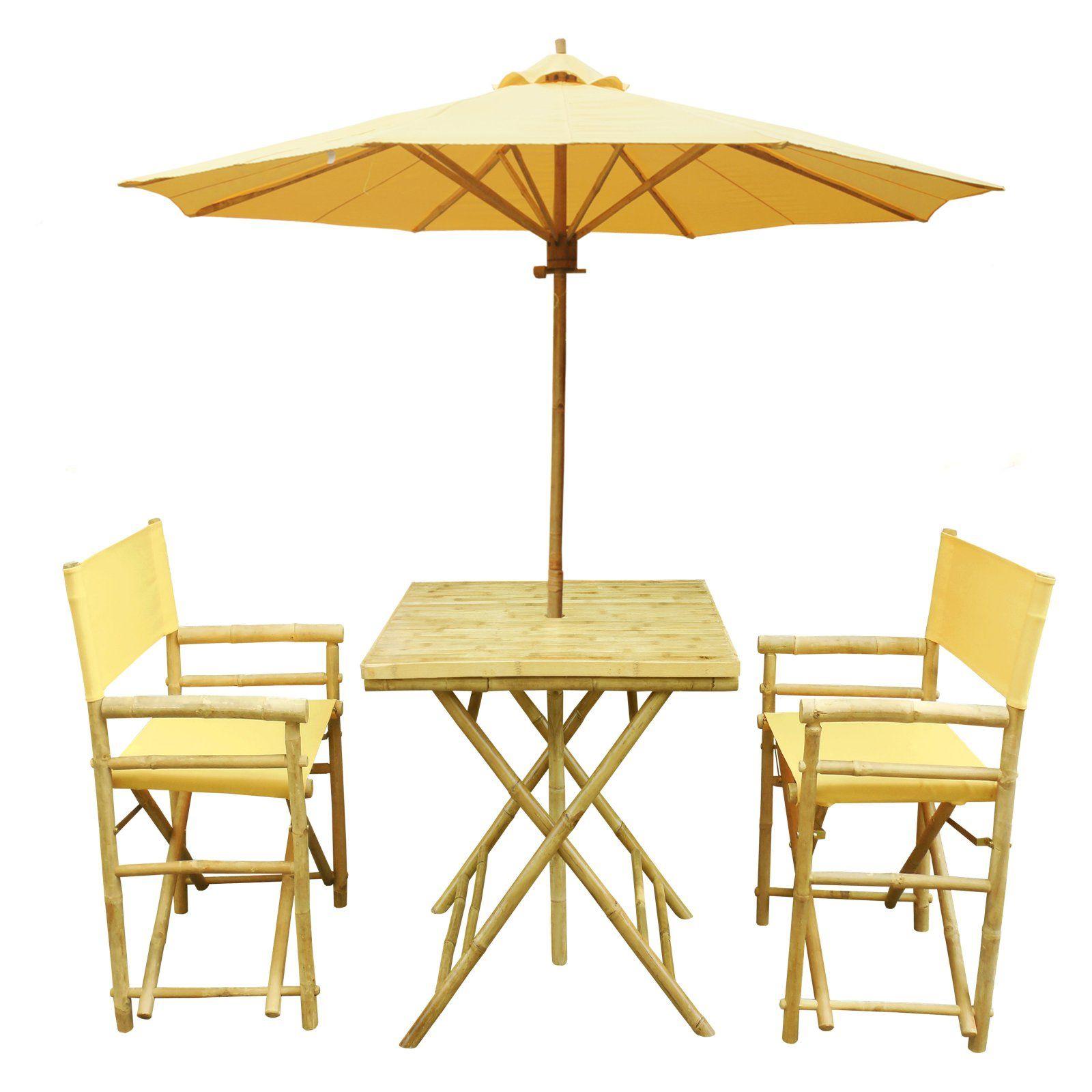 Statra Bamboo Square 3 Piece Patio Dining Set With Matching Umbrella Patio Dining Set 3 Piece Bistro Set Outdoor Dining Set