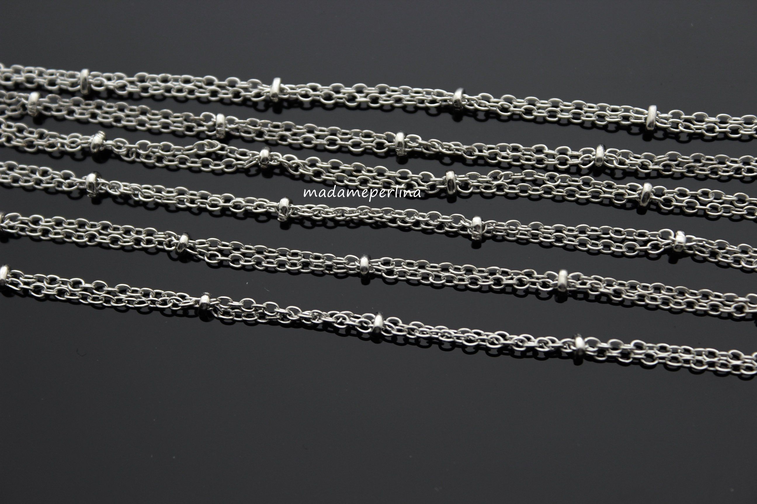 5939144b8d20b Double row chain ball chains 2mm Silver Plated over brass - 1 meter ...
