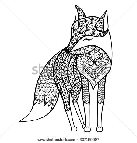 Zentangle vector happy Fox for adult anti stress coloring pages ...