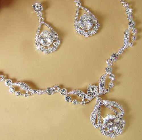 Silver Bridal Necklace & Earrings, Wedding Jewelry w/ Crystal & Rhinestones 600 S $59.95