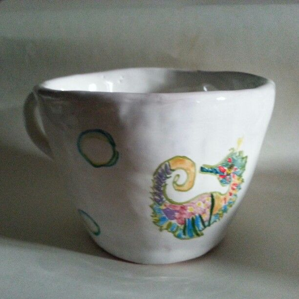 Milk cup with sea horse