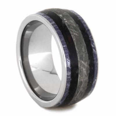 Mens Wedding Band With Meteorite And Dinosaur Bone, Fossil Ring-2143