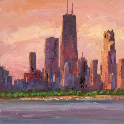 Chicago City Landscape And Free Art Giveaway Information Original Art Painting By Tom Brown Dailypainters Com Chicago Cityscape Art Cityscape Painting Chicago Cityscape