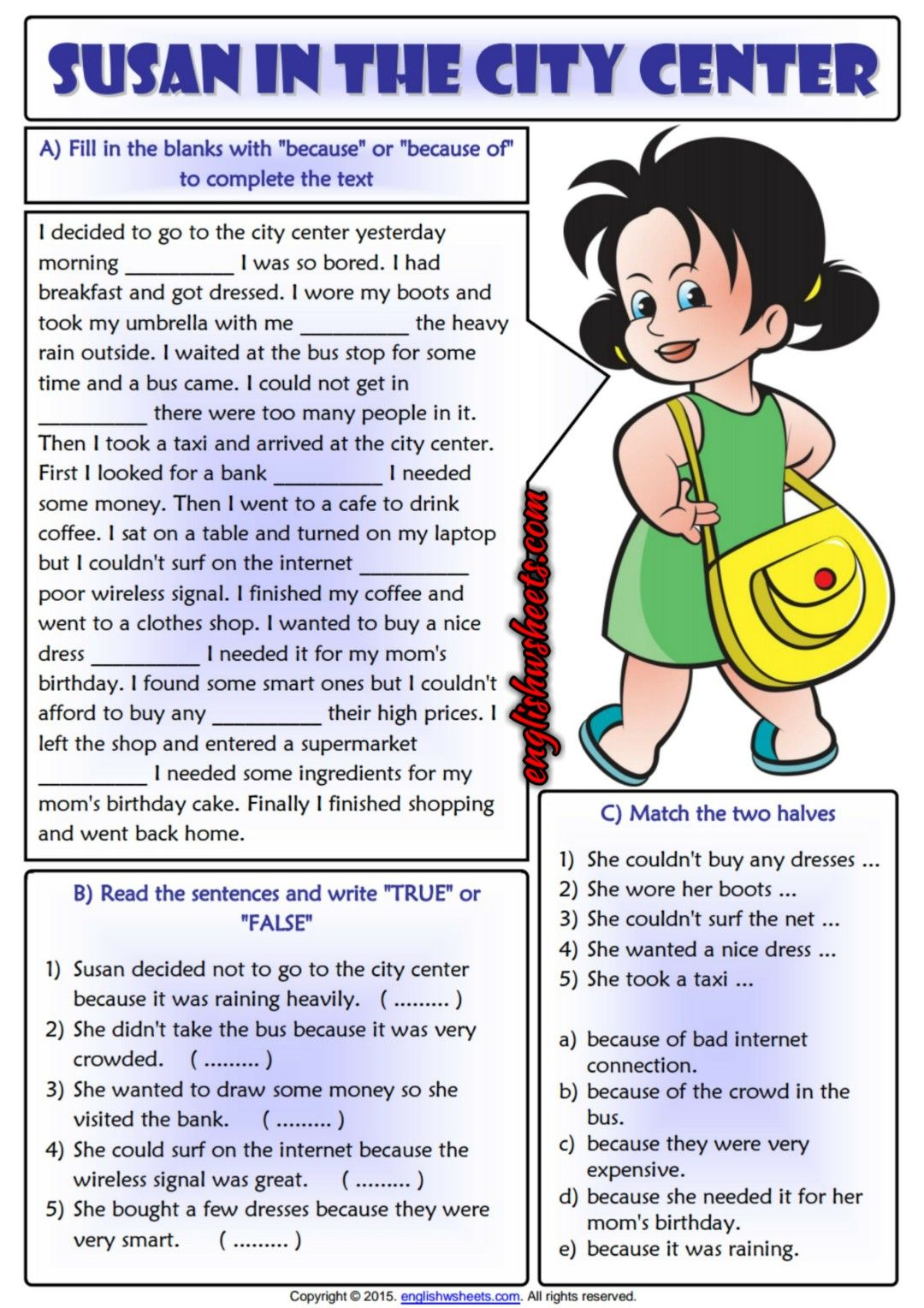 because or because of reading text exercises worksheet esl