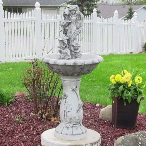 Outdoor White Solar Flower Fairy Garden Fountain Water Fixture Yard Decoration